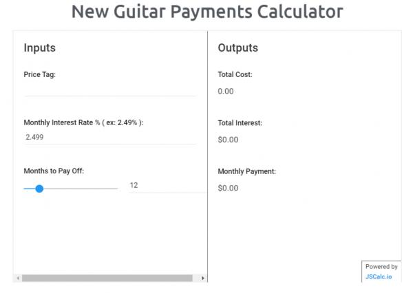 New Guitar Payments Calculator Tool