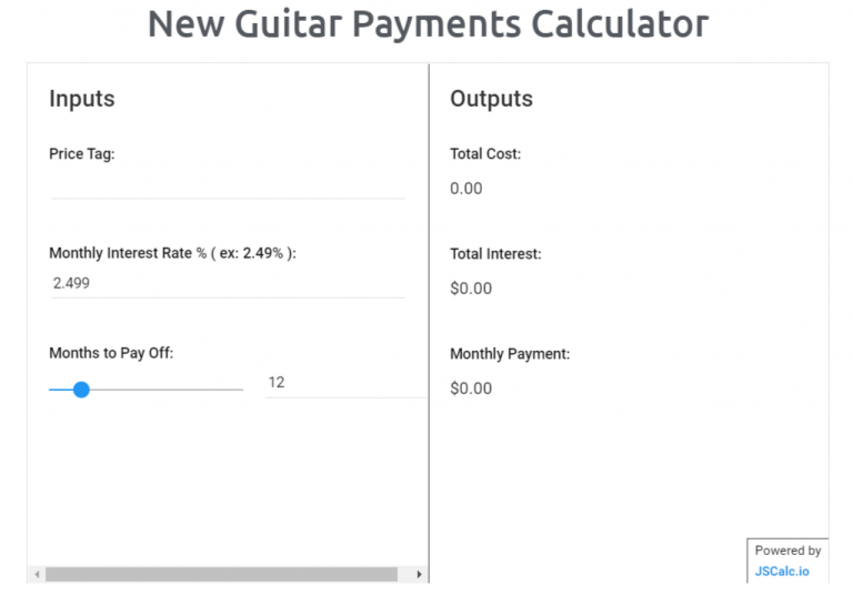 New Guitar Payments Calculator Tool