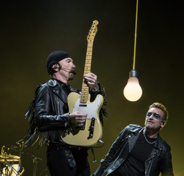 The Edge and Bono performing in Belfast on Nov 19 2015 scaled